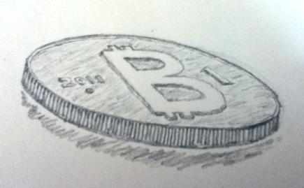 Pencil drawing of a bitcoin
